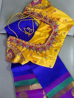 New embroidery blouse designs yellow ideas Saree Blouse Neck Designs, Bridal Blouse Designs, Blouse Patterns, Best Embroidery Machine, Embroidery Works, Indian Embroidery, Oriental, Back Neck Designs, Embroidery Fashion
