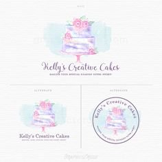 Watercolor Cake Logo - Floral Cake - Floral Bakery Logo - Watercolor Bakery Logo - Cake Design Logo