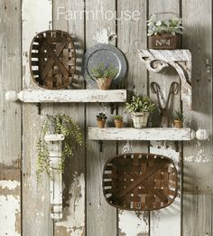 Mix vertical and horizontal pieces, including architectural salvage, country collectibles, baskets and plants for a dynamic wall arrangement. This originally appeared in Country Sampler Farmhouse Style Winter Decor, Retro Home Decor, Country Sampler, Country Decor, Living Room Decor Country, Salvaged Decor, Country Farmhouse Decor, Home Decor Baskets, Country Wall Decor