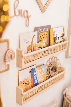 a cane book shelf using the FLISAT wall shelf from IKEA for this easy IKEA hack for your little kid's room. Baby Bedroom, Nursery Room, Boy Room, Ikea Hack Nursery, Ikea Girls Bedroom, Ikea Hack Kids, Kids Room Design, Girl Kids Room, Ikea Hack Bedroom