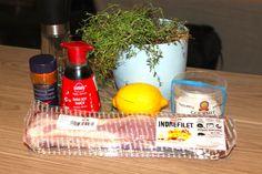 Timianmarinert indrefilet av svin – josefinesmatgleder Sauce, Sushi, Food And Drink, Dairy, Cheese, Gourmet, Sushi Rolls