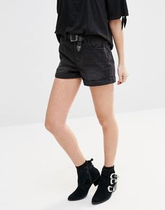 New Look Washed High Waist Denim Shorts