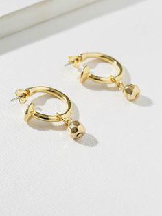 bcab17dd2 Earrings The Cecelia Gold Ball Hoops Vanessa Mooney Vanessa Mooney, Pearl  Earrings, Jewels,