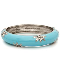 Enamel + Crystal Bangle  $32.00 / Item # B021  Turquoise handpainted enamel hinged bangle with crystal pave flower motif. Easy to wear hinge closure allows for wider range in fit.