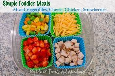 Simple & Easy Toddler Meal Ideas - buy silicone cupcake wrappers to separate meals on the go