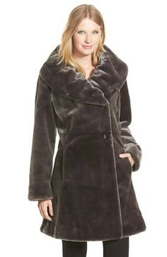 Gallery Ruched Collar Faux Fur Coat (Regular & Petite)  Was: $378.00 Now: $249.90 33% OFF