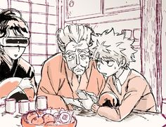 Killua teaching Zeno about technology.