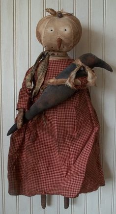 Primitive Grungy Lady Snowman Christmas Doll & Her Crow #NaivePrimitive