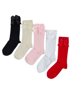 New Carlomagno Spanish Girls Baby Classic Knee High Satin Bow Socks 25 Colours