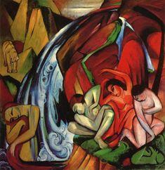 """""""Der Wasserfall"""" 18 Millionen Dollar wurde im November 2007 für Franz Marcs """"Der Wasserfall (Frauen unter einem Wasserfall)"""" aus dem Jahre 1912 im New Yorker Auktionshaus Sotheby's gezahlt - eine Rekordsumme für den deutschen Expressionisten."""