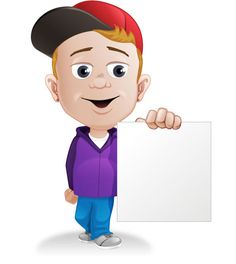 Young Boy Holding a Note Free Vector