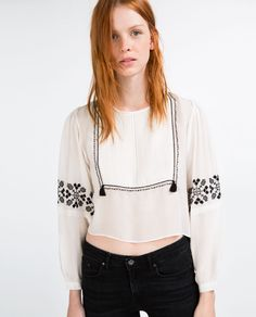 FLOWING SHIRT WITH BIB FRONT EMBROIDERY-TOPS-SALE-WOMAN | ZARA United States