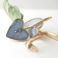 Gold Heart Earrings Light blue jeans color tiny by SigalitAlcalai, $32.00