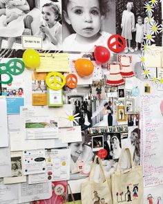 """""""I always meant for the corkboard wall of photos to just be the background,"""" Darcy says. Now it serves as a growing testament to her family's fun, busy life, and many get-togethers (including a peace birthday party for her daughter Daisy)."""