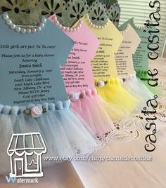 TuTu invitations for Tutu themed Baby shower or by CasitaDeCositas