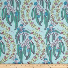 Anna Maria Horner Pretty Potent Eucalyptus Jade from @fabricdotcom  Designed by Anna Maria Horner for Free Spirit, this cotton print is perfect for quilting, apparel and home decor accents.  Colors include mint, blue, citron, orchid and dusty mint.