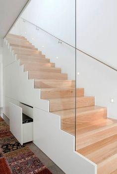Modern Staircase Design Ideas – Search inspiring photos of modern stairs. With f… Modern Staircase Design Ideas – Search inspiring Staircase Storage, Stair Storage, Staircase Design, Staircase Ideas, Staircase Remodel, Stairs With Storage, Modern Staircase Railing, Ladder Storage, Staircase Makeover