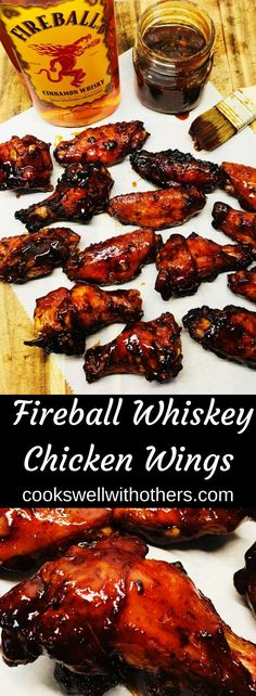 Fireball Whiskey Chicken Wings - Cooks Well With Others Just the Fireball Sauce would be delicious on anything! Fireball Whiskey Chicken Wings Recipe and Cooking Project Idead Smoked Chicken Wings, Cooking Chicken Wings, How To Cook Chicken, Chicken Wings On Grill, Grilled Chicken Wings, Grilled Chicken Recipes, Chicken Wing Recipes, Grilled Shrimp, Grilled Salmon