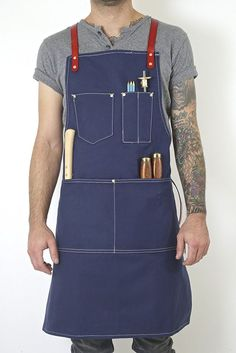 Twig And Bones Canvas And Genuine Leather Utility Apron With Pockets Blue NEW