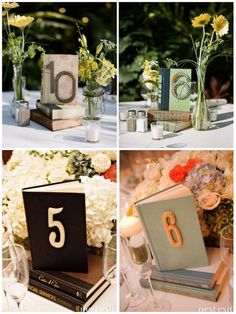 Creative Table Numbers! Love the books. I could tie my English majorness into my country wedding!!