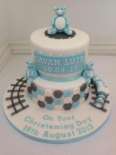 A Boys Christening Cake by Fancy Fondant