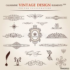 Vector: Vector set. Calligraphic vintage elements and page decoration pr
