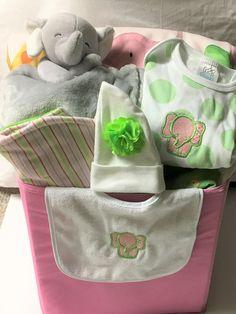 Baby girl clothing gift basket elephant baby girl basket elephant baby girl clothing gift basket elephant baby girl gift basket baby gift baby negle Images