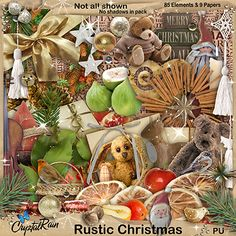 An almost traditional Christmas kit, in beautiful muted tones.. soft browns and golds with pops of reds and golds here and there..  Quite a large kit with 85 Elements and 9 Papers.. Everything you need for those Christmas pages.. Journalling.. Artwork...Cards or Invitations..