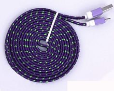 2M 6FT PURPLE Braided Micro USB Cable Charger for Samsung S2 S3 S4 NOTE 2 3 SONY #AyannasWholesale