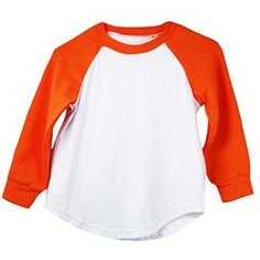 Orange Long Sleeve Raglan Baseball T-Shirt -- Find out more about the great product at the image link. (This is an affiliate link) #Shirts