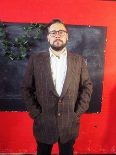 Vintage 1970s Brown Tweed OVERCHECK TWILL Blazer Jacket Medium/Large