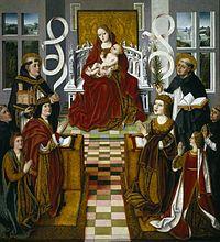 Virgen de los Reyes Católicos.  La pintura gótica se fue desplazando hacia los retablos, pintándose en madera al temple, esto es, usando huevo o cola como aglutinante. Ya en el siglo XV se difunde la pintura al óleo.
