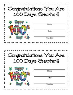 100th day of school kindergarten | 100TH DAY OF SCHOOL AWARD - TeachersPayTeachers.com