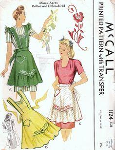 McCall Beautiful Vintage Apron Pattern
