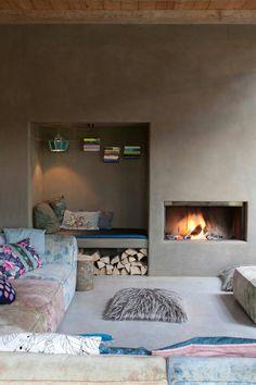 Inspiratie beeld voor MOLITLI Stuc Atelier Leuke sfeer voor buiten en met een cementstuc creëer je zo'n buitenmuur