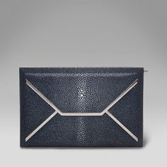 In the details: Envelope Box Clutch in Midnight Blue Shagreen.   www.smythson.com