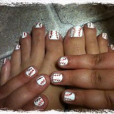 Baseball nails & toes .. i would do this for my boyfriend :)