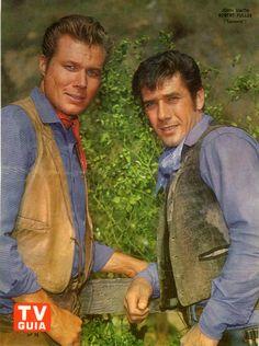 John Smith and Robert Fuller in Laramie John Smith Actor, Actor John, Old Western Actors, Laramie Tv Series, Robert Fuller Actor, James Drury, Clint Walker, Dale Evans, Tv Westerns