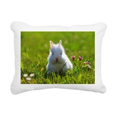 White young dwarf rabbit Rectangular Canvas Pillow on CafePress.com