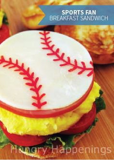 This breakfast sandwich is a fun and easy recipe to make with your kids, and they'll love creating these cute sports ball cheese slices! This is delicious to eat and makes for great quality time together.