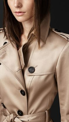 Long Cotton Sateen Trench Coat | Burberry