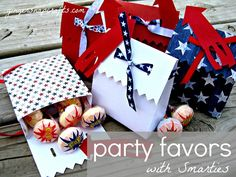 Smarties Pops make gorgeous Fourth of July Party favors!
