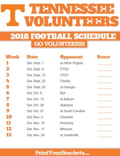 Print Tennessee Volunteers Season Schedules in . List of University of Tennessee Volunteers Football Match Ups and games. Who do the Tennessee Volunteers Play Tennessee Football Schedule, Tn Vols Football, College Football Schedule, Tennessee Volunteers Football, College Football Teams, Football Things, Ncaa College, Football Season, Tennessee Girls