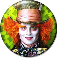 Tim Burton THE MAD HATTER Johnny Depp Button Badge by BeatGorilla