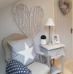 Afternoon treasures....for those of you who have asked our white wicker hearts are now in stock...along with new lamps and greenery....Coll xxx #westbarninteriors #extralargeheart #stars #starcushion #greytables