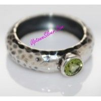 Silpada Artisan Jewelry Green Peridot Size 8 Matte Oxidized Ham..
