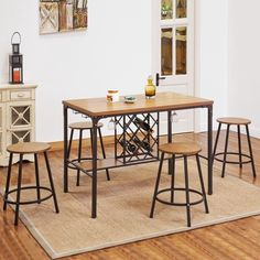 Acme Furniture Dora Oak Wood and Metal Counter-height Table