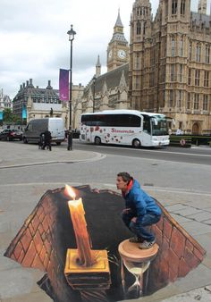 This also is a nice 3d street art because it looks very funny when youre sitting there and act like you blow the candle.