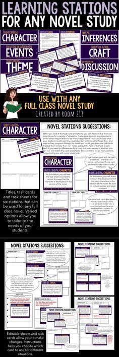 Move beyond worksheets and chapter questions. Use these stations to help your students be critical readers.  Can be used with any full class novel study. English Textbook, Teaching Writing, Teaching English, Learning Stations, Children's Literature, Case Study, Short Stories, Teacher Pay Teachers, Texts