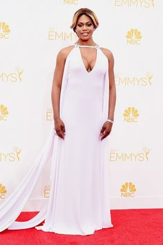 Laverne Cox wearing Marc Bauer custom gown, Fred Leighton jewelry, and Stuart Weitzman shoes at the 66th Annual Emmy Awards // #Emmys #redcarpet #Emmys2014